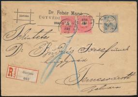 1900 5kr pár + Turul 25f vegyes bérmentesítés ajánlott levélen ORAVICZA