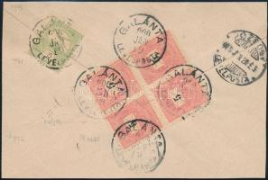 1900 5kr négyestömb + Turul 5f vegyes bérmentesítés levél hátlapon