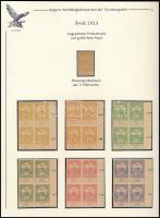 1913 Árvíz 2f-1K 14 klf. fogazatlan próbanyomat négyestömb gumi és vízjel nélküli papíron + 2f próbanyomat értékszám nélkül / Mi 129-142, 14 imperforate proof blocks of 4 on paper without watermark and gum + 129 proof without numeral