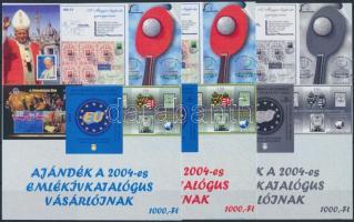 2004/43 Ajándék a 2004-es emlékívkatalógus vásárlóinak 3 db-os emlékív garnitúra (15.000)
