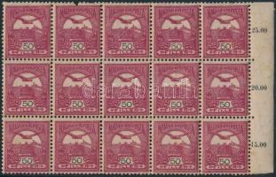 1904 Turul 50f sötétborvörös ívszéli 15-ös tömb fordított vízjellel (1 bélyeg sérült)