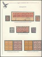 1900 Fogazási különlegességek 28 db Turul bélyegen, kiállítási lapon