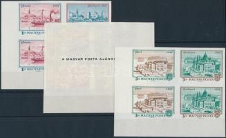 1972 Óbuda-Buda-Pest polgármesteri AJÁNDÉK vágott ívsarki négyestömbök (140.000) / Mi 2805-2810 imperforate corner blocks of 4, present of the post