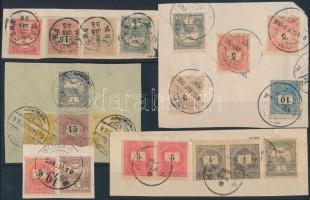 1900 Krajcár-fillér bérmentesítéssel 17 db kivágáson