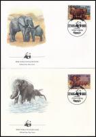 WWF: African elephant set 4 FDC, WWF: Afrikai elefánt sor 4 db FDC-n