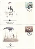 WWF: Crane bird set on 4 FDC, WWF: Darumadár 4 db FDC-n