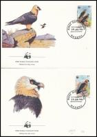 WWF: Bearded vulture set on 4 FDC, WWF: Saskeselyű sor 4 db FDC-n
