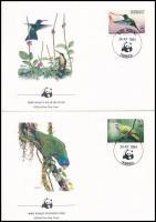 WWF: Birds set on 4 FDC, WWF: Madarak sor 4 db FDC-n