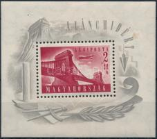 1948 Lánchíd (I.) blokk (25.000) (cellulózdarab a papírban, különben szép)