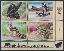 Endangered species corner block of 4, Veszélyeztetett fajok ívsarki négyestömb