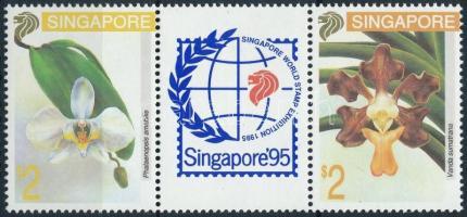 International Stamp Exhibition; Orchids set in stripe of 3, Nemzetközi bélyegkiállítás; Orchideák sor hármascsíkban
