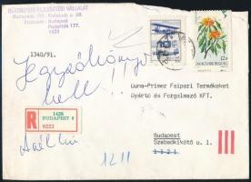 1991 Virág 12Ft látványosan képbe fogazva ajánlott levélen. Ritka különlegesség!!
