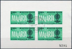 1962 A malária elleni küzdelem éve vágott számozott kisív elsőnapi bélyegzéssel
