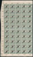 1919 Köztársaság Feketeszámú portó 50f középen hajtott teljes ív, garancia nélkül (120.000) (fogelválások)