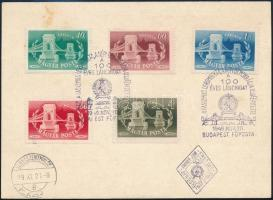 1949 Lánchíd fogazott + vágott sorok 2 FDC-n (5.400)