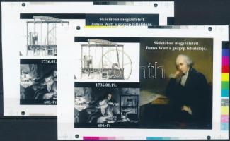 2017/02 James Watt cromalin emlékívpár garanciabélyegzővel (120.000)