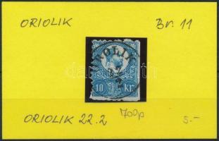 1871 Réznyomat 10kr OROLIK luxus bélyegzéssel (Gudlin 700 p)(ollóval vágva)