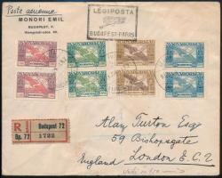 1942 Ajánlott légi levél Madonna-Arató-Ikarusz vegyes bérmentesítéssel Londonba küldve, látványos sokszínű kombináció