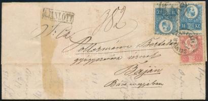 1875 Réznyomat 5kr + 2 x 10kr 2. súlyfokozatú ajánlott levélen SZINYÉR VÁRALLYA - BAJA