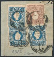1858 10kr + 3 x 15kr (egyik lemezhibás) = 4 db I. típusú bélyeg 55kr kivágáson ARAD , nagyon ritka