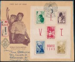 1949 VIT (I.) blokk ajánlott FDC-n az USA-ba küldve, ritka (20.000++)