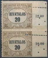 1920 Hivatalos 20f pár alul, felül fogazatlan, jobb oldalon elfogazással