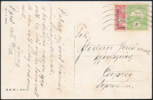 1916 Felezett 10f + 5f Budapest - Csepreg (Floderer levelezésből)