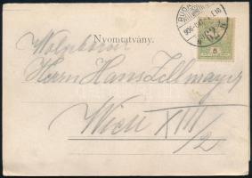 1906 5 részes Budapest panoráma lap nyomtatványként 5f bérmentesítéssel Bécsbe, Ritka!!