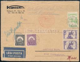 1931 július 27 Katapult bérmentesítésű levél az USA-ba. A katapult szolgálat július 7-én indult, levéldíj 40f, V. zóna légi díj 1P 15f, katapult díj 1P 10f összesen 2P 65f tarifahelyes bérmentesítés. Az Európa hajó katapult bélyegzése nincs rajta, így is rendkívüli ritkaság RRR!