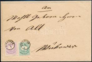 1876 Színes számú 2kr + 3kr távolsági levélen VINKOVCE gyűszűbélyegzés -VUKOVAR LUXUS kiállítási darab!! RRR!