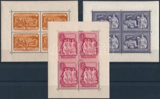 1947 Bélyegnap + 1948 Szakszervezet + 1949 Bélyegnap kisívek (20.000)