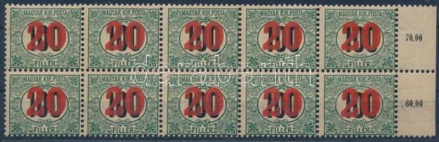1915 Kisegítő portó ívszéli tízestömb számvízjellel és csillaggal. R!