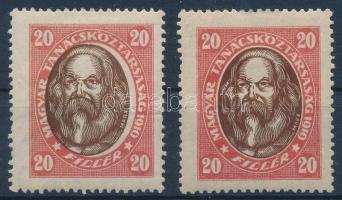 1919 Tanácsköztársasági arcképek 20f középrész eltolódással + támp.