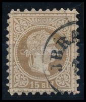 Magyar posta Romániában 1867 15soldi JBRA(ILA) (40.000) (javított fogazás / repaired perforation)