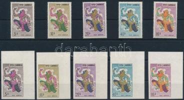 Hanuman monkey king perforated and imperforated set Hanuman majomkirály fogazott és ívsarki vágott sor