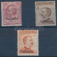 1912 Forgalmi 3 érték Calimno felülnyomással Mi 4, 8 , 11 I