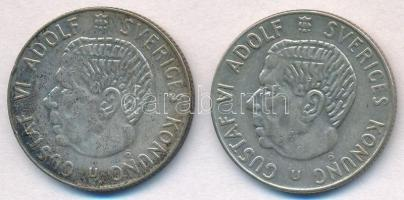 Svédország 1961U 1K Ag + 1965U 1K Ag VI. Gusztáv T:2 Sweden 1961U 1 Krona Ag + 1965U 1 Krona Ag Gustaf VI C:XF