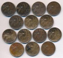 Olaszország 1920R-1937R 10c Cu (14x) T:2-3 ph. Italy 1920R-1937R 10 Centesimi Cu (14x) C:XF-F edge error Krause KM#60