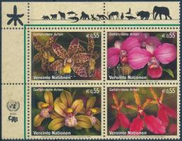 Veszélyeztetett fajok ívsarki négyestömb Endangered species corner block of 4