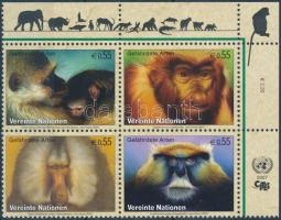 Endangered species corner block of 4 Veszélyeztetett fajok ívsarki négyestömb