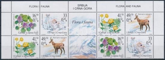 Növények és állatok ívsarki nyolcastömb Fauna and flora corner block of 8