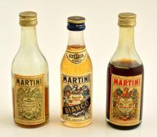 3 db Martinis üveg, tartalommal, köztük 2 bontatlan, 50 ml