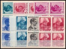 1935/1940 II. Károly király 7 klf érték 4-es tömbökben Mi 494, 497, 500-501, 503-504, 507