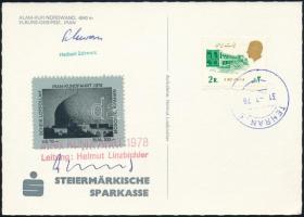 Elburz-expedíció képeslapja adománybélyeggel és a túravezető aláírásával, Postcard of the Elburz Expedition with a donation stamp and signature of the tour leader