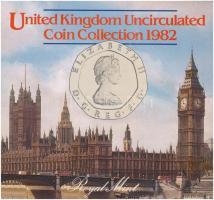Nagy-Britannia 1995. 1/2p-50p Cu-Ni forgalmi sor (7xklf), dísztokban, a ragasztó elengedett T:1  Great Britain 1995. 1/2 Penny - 50 Pence Cu-Ni coin set in (8xdiff) in original case, glue is loose C:UNC