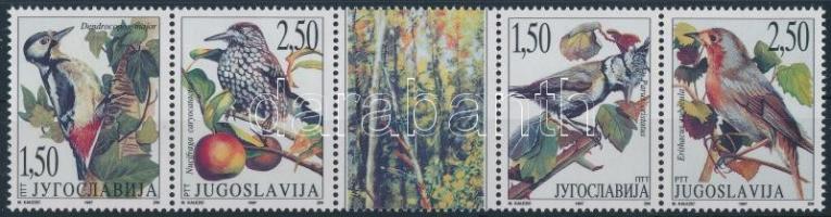 Védett állatok; Madarak szelvényes ötöscsík Protected animals; Birds stripe of 5 with coupon