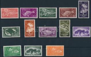 1953-1963 Fish motive 13 diff stamps, 1953-1963 Halak motívum 13 klf bélyeg, közte sorok