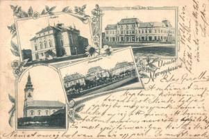 1898 Nyíregyháza, színház, Korona szálloda, vármegyeháza, Ágostoni ev. templom. Floral, Art Nouveau