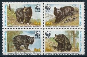 WWF: Asian black bear set in block of 4, WWF: Ázsiai fekete medve sor 4-es tömbben