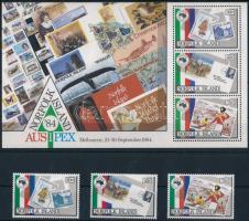 International Stamp Exhibition, Melbourne set + block Nemzetközi bélyegkiállítás, Melbourne sor + blokk